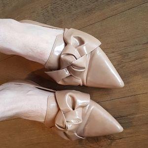 Zara bowtie pointy toe flats